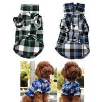 Spring Autumn Pet Cat Dog T Shirt Apparel Clothes Shirt Cute Plaid Costume Black